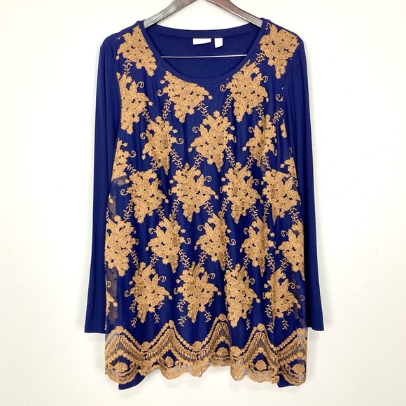 LOGO Lavish Floral Embroidered Tunic Scallop Hem